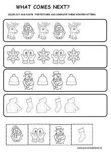 winter pattern worksheet for preschool