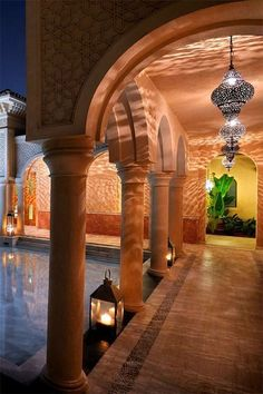Moroccan lighting in a Riad's courtyard. #morocco #riad - Maroc Désert Expérience tours http://www.marocdesertexperience.com