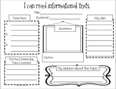 Responding to Nonfiction: An Informational Text Graphic Organizer.I would use this as a graphic organizer--then the kids could use ipad apps to create reports. Sonic Pics, Face Talker, Little Story Maker, and Pictures with Words would work! Reading Lessons, Teaching Reading, Guided Reading, Math Lessons, Kindergarten Writing, Learning, Third Grade Reading, Second Grade, Reading Workshop