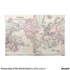 Vintage Map of The World (1864) Placemat