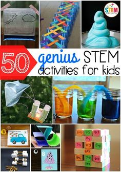 Genius STEM Activities for Kids 50 genius STEM activities for kids! So many fun science, technology, engineering and math ideas in one genius STEM activities for kids! So many fun science, technology, engineering and math ideas in one spot. Stem Science, Preschool Science, Science Experiments Kids, Science For Kids, Science Ideas, Science Classroom, Summer Science, Activity Ideas, Science Centers