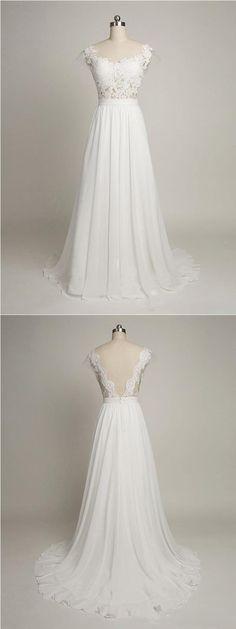 simple wedding dress,white wedding dresses,chiffon wedding dresses,long prom dresses,2017 prom dresses