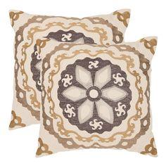Thea 2-piece 18'' x 18'' Throw Pillow Set, Dark Brown