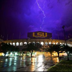 Lightning over LSU's Tiger Stadium. Photo by ChrisParent.com