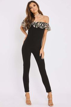 CORRIANNE BLACK  EMBROIDERED MESH BARDOT FRILL JUMPSUIT