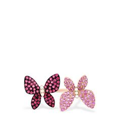 Effy Nature 14K Rose Gold Pink Sapphire & Diamond Butterfly Ring, 1.14 TCW