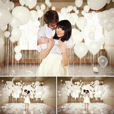 Who wouldn't want their pic taken in a room full of balloons! An engagement photo session with a room filled with balloons. Wedding Trends, Wedding Blog, Diy Wedding, Dream Wedding, Wedding Ideas, Wedding White, Trendy Wedding, Balloon Backdrop, Ceremony Backdrop