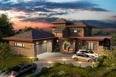 Contemporary Prairie Style Ranch House Plan 43208 Elevation