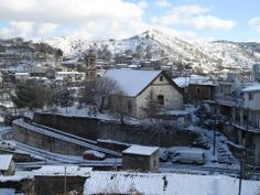 Photo in winter of St George Church dusted in snow - Palaichori, Troodos, Cyprus. Cyprus, Daydream, Mount Everest, Weather, Snow, Mountains, House Styles, Nature, Travel