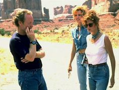 Ridley Scott, Susan Sarandon & Geena Davis on the set of THELMA & LOUISE #Oscars #Platinum #SableFilms