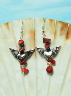 Pewter winged hearts and red coral earrings; Lady biker earrings; Bike week earrings; Winged heart red and silver dangle earrings; Valentine...