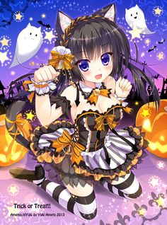 HAPPY HALLOWEEN~~★ anime art. . .hallowen dress. . .costume. . .corset. . .ribbons. . .lace. . .striped socks. . .neko. . .cat girl. . .cat ears. . .cat tail. . .twin tails. . .jack o lantern. . .pumpkins. . .ghosts. . .cute. . .moe. . .kawaii