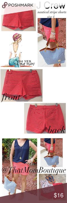 J Crew Nautical Stripe Shorts- size 4 The perfect shirts to complete your 4th of July outfit. J Crew nautical stripe 3 inch chino shorts. Worn 2x they are in perfect condition. Side zip for streamlined styling. Back slit pockets. Waist 28 inches. J. Crew Shorts