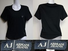 Genuine Emporio Armani Jeans Woman T-Shirts Black XS Vintage Style Crystals Logo