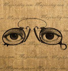 Vintage Eye Glasses  Digital Image Download Great For by Mazix,