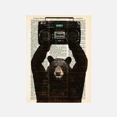 Lloyd the Black Bear print on vintage dictionary paper Hand Designs, Wall Art Designs, Print Artist, Upcycled Vintage, Black Bear, Cute Illustration, Book Art, John Cusak, Bears