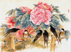 Liang Yan Sheng pinta flores e aves com técnica tradicional chinesa | #Artista, #Jmj, #LiangYanSheng, #Pintores