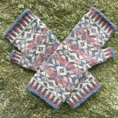 Cholla Blossom, a Fair Isle style knitting design by Mary Ann Stephens, knit in six different shades of Jamieson's Shetland Spindrift 100% Shetland wool yarn.  Kits available through the designer!