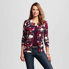 Women's Favorite Cardigan Long Sleeve Floral Print Burgundy XS - Merona™ : Target