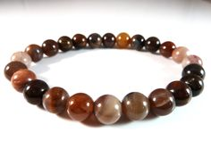 Petrified Wood Stretch Bracelet 8mm Smooth Round Polished Gemstone Beads Pink Burgundy Rust Golden Yellow Brown Beige Natural Genuine by SandiLaneFineArt on Etsy