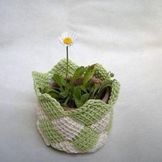 Cache-pot - tunisian crochet planter pots