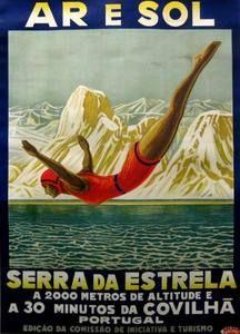 Serra da Estrella , Lake of portugal. Vintage travel poster art deco - 1930s…