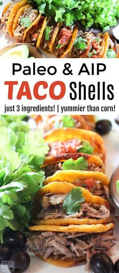 Paleo & AIP Taco Shells: made with just 3 ingredients! You'll LOVE having a taco feast that's better than corn! #paleotacos #aiptacos #paleomexicanfood #aipmexicanfood #plantains #paleotortillas #aiptortillas