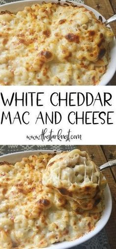 Baked White Cheddar Mac and Cheese This is HANDS DOWN the BEST mac and cheese on the planet! Made with white cheddar, mozzarella, and Muenster. Definitely adding this to our holiday menu! Macaroni Cheese Recipes, Pasta Recipes, Dinner Recipes, Cooking Recipes, Dinner Ideas, Best Macaroni And Cheese, Baked Macaroni, Kraft Recipes, Casserole Recipes