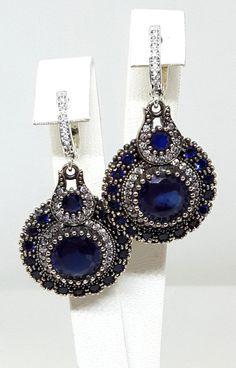 Sterling Silver Earrings, Silver Earrings, Antique Silver Earrings, Rose silver Earrings, Sapphire Earrings, Zircon Earrings by Rosestyle on Etsy