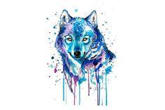 Watercolor Wolf Temporary Tattoo - MyBodiArt.com