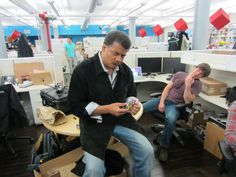 As we all know, astrophysicist Neil deGrasse Tyson can't resist solving the mysteries of the universe. But here on earth, he's also compelled to solve any Rubik's Cube he comes across. (Just ask The Daily Show's Jon Stewart.) While taking a break between recording episodes of StarTalk, he grappled with an unusual, multi-cube variant of unknown origin.