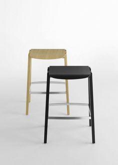 Designed by Mario Ferrarini for Crassevig Aesthetic Value, Oak Stain, Plywood, Teak, Bar Stools, Upholstery, Chair, Mario, Italy
