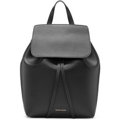 Mansur Gavriel Black Leather Mini Backpack (11.140 ARS) ❤ liked on Polyvore featuring bags, backpacks, backpack, black, mini leather backpack, leather drawstring backpack, leather strap backpack, leather knapsack and draw string backpack