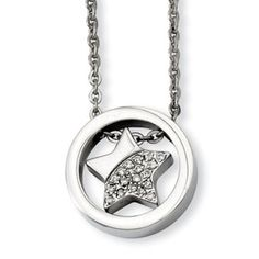 Women's Stainless Steel CZ Star Circle Pendant Necklace Jewelry Available Exclusively at Gemologica.com