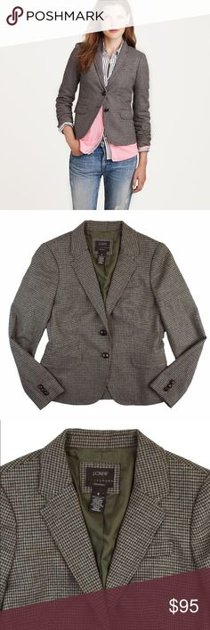 """New JCREW Schoolboy Blazer in Houndstooth Check NWOT. This new wool schoolboy blazer in houndstooth check from JCREW features leather button closures, front pockets and is fully lined. Made of 100% wool. Measures: bust: 37"""", total length: 23"""", sleeves: 24"""" J. Crew Jackets & Coats Blazers"""