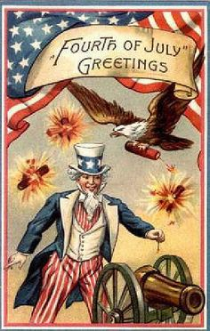 Fourth of July Greetings - Happy July Quotes & Patriotic Independence Day Sayings Patriotic Images, Patriotic Quotes, Patriotic Symbols, 4th Of July Fireworks, Fourth Of July, Vintage Cards, Vintage Postcards, Vintage Images, Vintage Labels