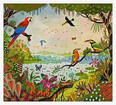 "Alain THOMAS 66 x 48 cm 26 x 19"" Prix : 20,00 Art Floral, Alain Thomas, Naive Art, Animal Paintings, Oeuvre D'art, Wall Murals, Flower Art, Fashion Art, Coloring Books"