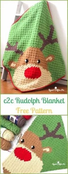 Crochet Afghans Ideas The Stitching Mommy: Crochet Rudolph Blanket Free Pattern - original pattern here: Crochet Rudolph Blanket Free Pattern Crochet Afghans, C2c Crochet Blanket, Bag Crochet, Crochet For Beginners Blanket, Crochet Gratis, Manta Crochet, Afghan Crochet Patterns, Crochet Baby, Knitting Patterns