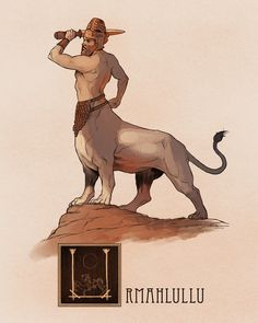 """Name: UrmahlulluArea of Origin: Mesopotamia, AssyriaThe Urmahlullu (""""Lion-Man"""") is a protective spirit that appears in the mythology of Assyria. Similar to that of the Greek Centaur, the Urmahlullu is comprised of the upper body of a man, whereas. Greek Mythological Creatures, Japanese Folklore, Legendary Creature, Norse Mythology, Centaur, Fantasy Creatures, Japanese Mythical Creatures, Gods And Goddesses, Creature Design"""