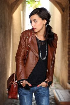 Brown leather jacket obsessed... I have one in my closet that I ALMOST fit into! I'll get there soon. :)