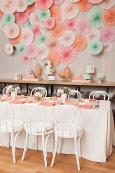 #confettimagspring  Sparkling Spring Soirée with mint and rosy pink accents and a touch of gold.  Paper decorations could be used on a wall as a photoboith backdrop or behind the dessert table.
