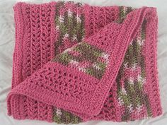 pink and camo- Crochet Baby Blanket