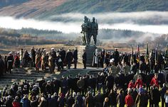 A service is held at the Commando Memorial at Spean Bridge in the Highland area of Scotland, as people across Scotland have joined in a two-minute silence to commemorate fallen service men and women