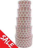Pink Heart Floral Round Nesting Storage Boxes - Set Of 5 Valentine's Gifts