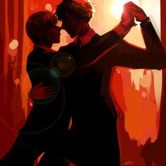 Just a really beautiful and striking pose in this fanart of Sherlock and John doing the tango. I love the colors!