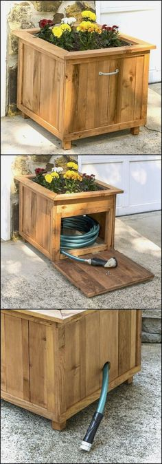 Ted's Woodworking Plans - DIY Pallet Wood Hose Holder with Planter Get A Lifetime Of Project Ideas & Inspiration! Step By Step Woodworking Plans Diy Pallet Projects, Woodworking Projects Diy, Outdoor Projects, Garden Projects, Woodworking Plans, Wood Projects, Pallet Ideas, Woodworking Skills, Backyard Projects