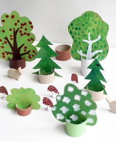 The best kids craft projects, via WeeBirdycom: cardboard forest.