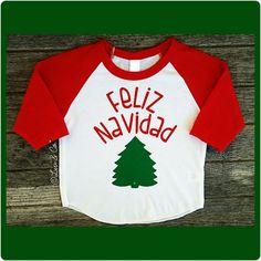 Feliz Navidad Baby, Toddler, and Kids Raglan Baseball Sleeve Christmas Tree Tee Shirt Outfit. Boy or Girl Christmas Clothes.© Liv & Co.™ by LivAndCompany on Etsy