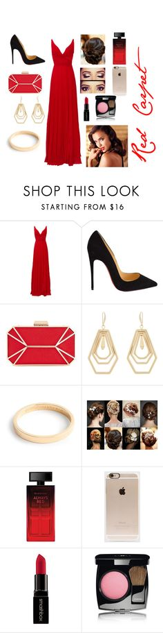 """Red carpet"" by shyshaye1234567 ❤ liked on Polyvore featuring Laundry by Shelli Segal, Christian Louboutin, INC International Concepts, Kara by Kara Ross, J.Crew, Elizabeth Arden, Incase, Smashbox, Chanel and Avon"