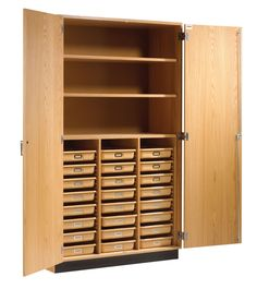 """84"""" H x 48"""" W x 22"""" D Tote Tray and Shelving Storage Cabinet"""
